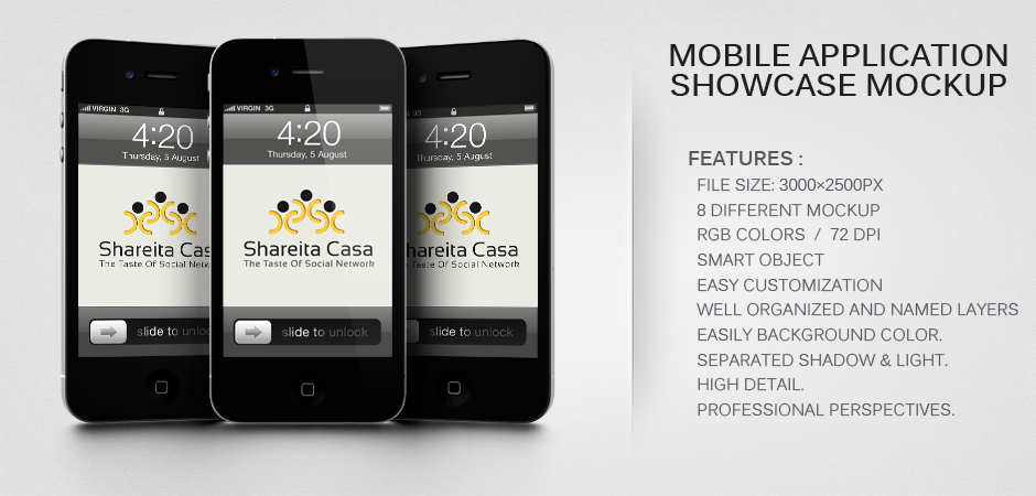 Mobile Application Showcase Mockup