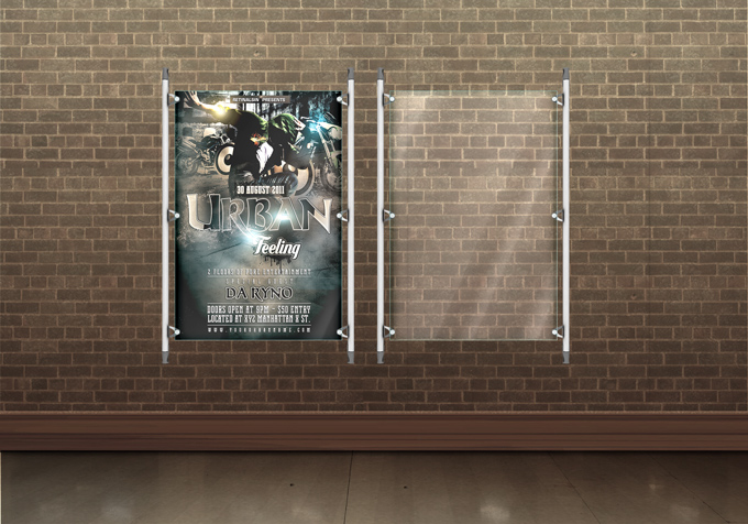 Glass Flyer and Poster Display Mockup