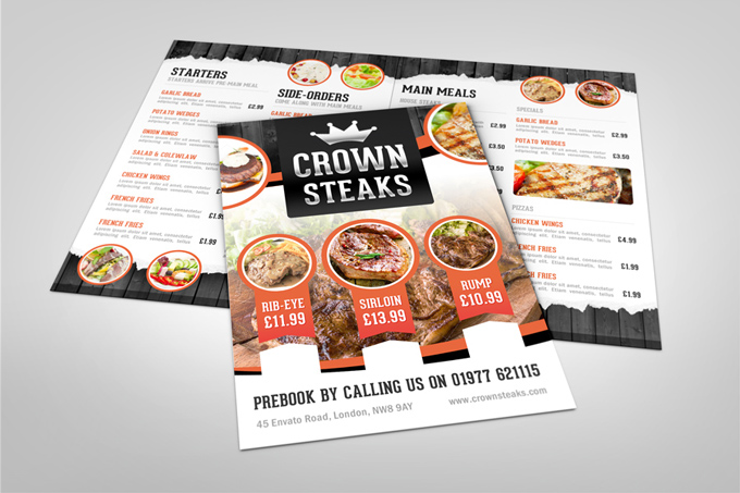 Half Fold Menu Mock-up