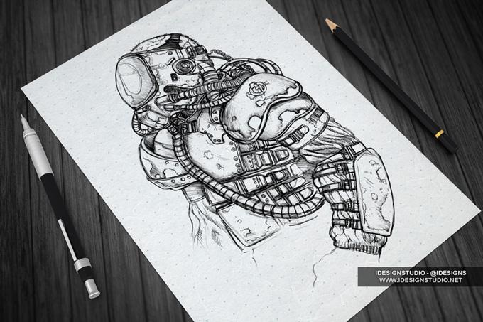 Sketch Design Display Mock-Up | Product Mock-ups