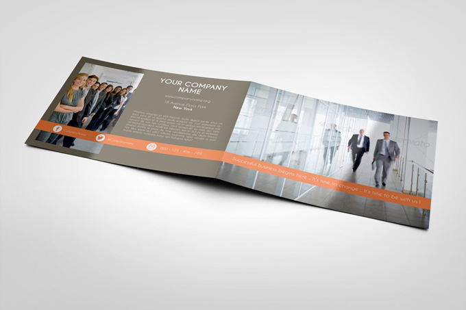 Corporate BiFold Brochure Template Graphicriver Print Templates - Bi fold brochure template indesign