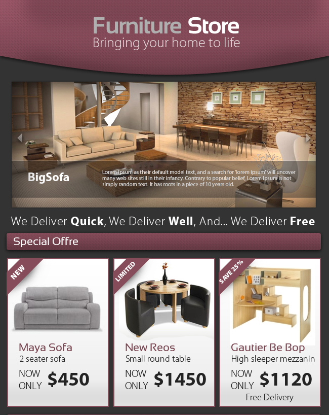 Professional furniture store e newsletter web elements for Furniture placement templates free