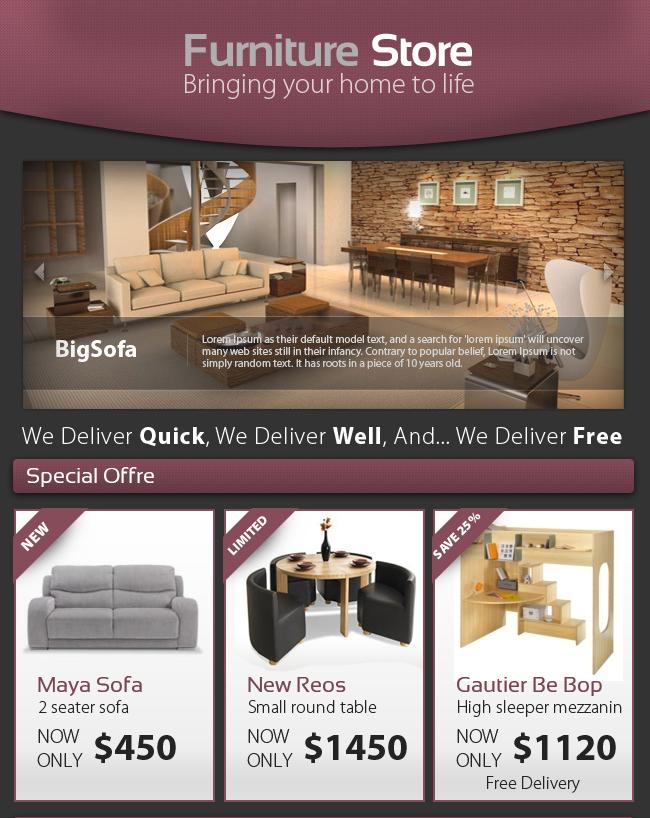 professional furniture store e newsletter web elements. Black Bedroom Furniture Sets. Home Design Ideas