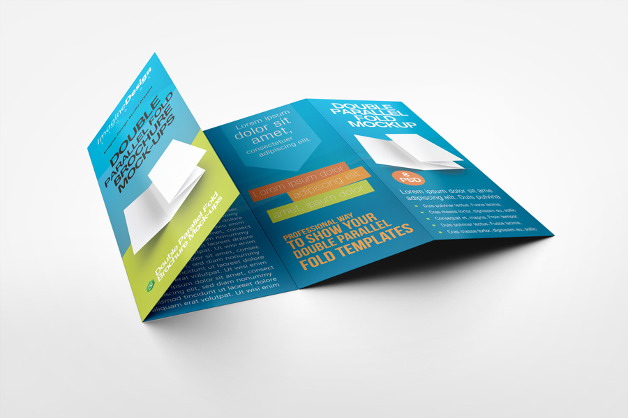Double Parallel Fold Brochure MockUp By IdesignstudioNet