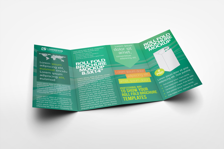 Roll Fold Brochure Mockup By Idesignstudio