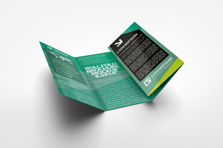 Roll Fold Brochure Mockup By Idesignstudio.Net