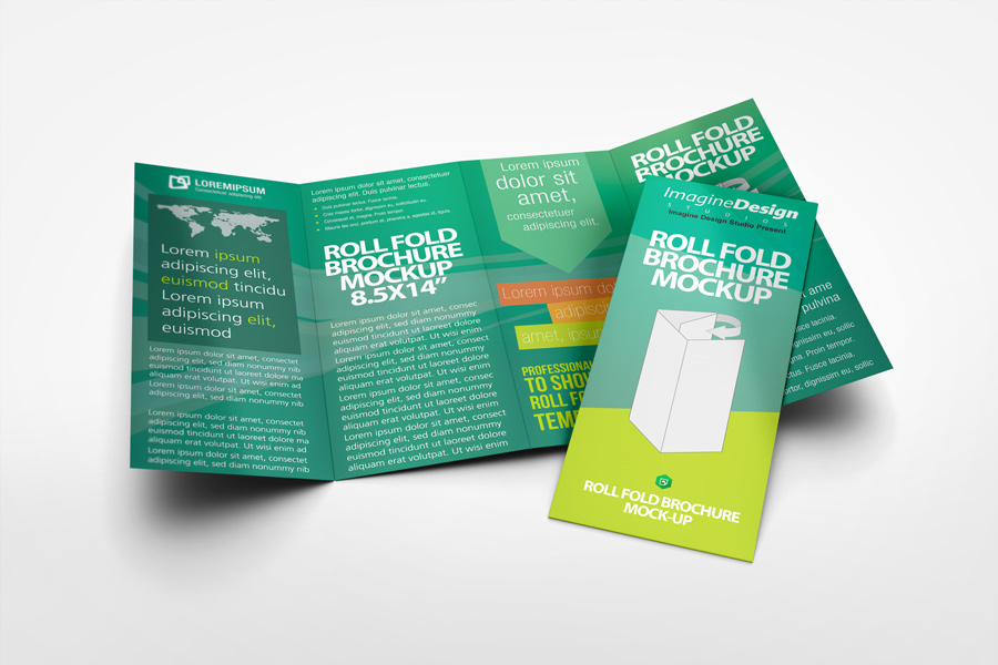 Roll Fold Brochure Mockup By Idesignstudio Net
