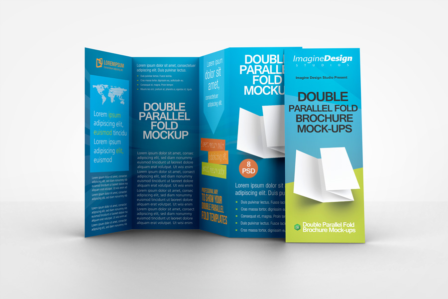 Double Parallel Fold Brochure Mockup