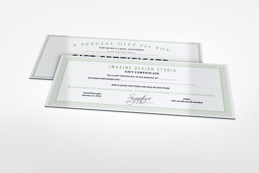Gift Certificate Mockup