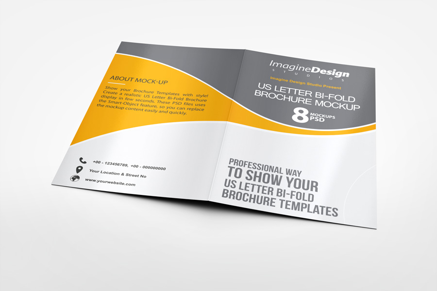 US Letter Bi-Fold Brochure Mock-Up