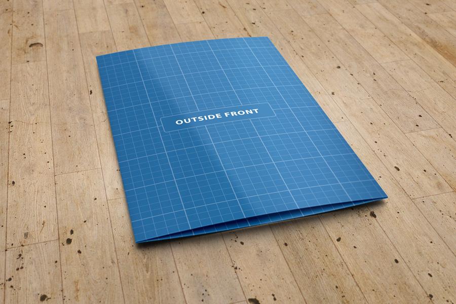 US Letter Bi-Fold Brochure Mock-Up