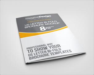 US Letter Bi fold Brochure mockup