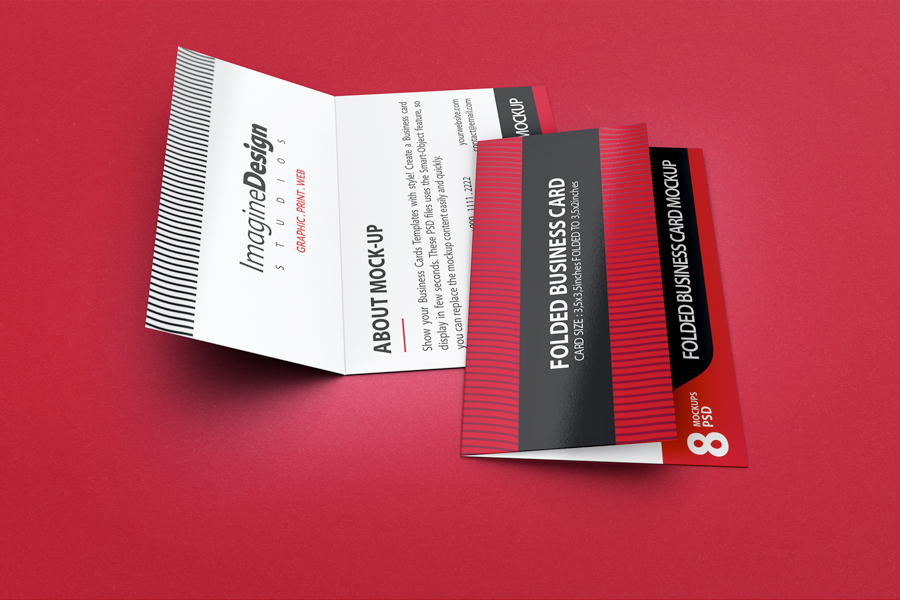 Folded Business Card Mockup V3 by idesignstudio.net