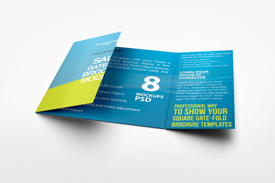 Great Square Gate Fold Brochure Mockup Design Ideas