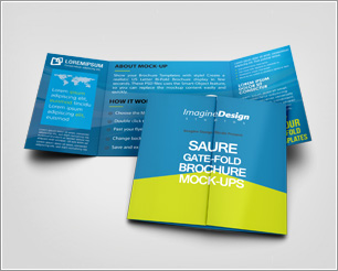 Square Gate Fold Brochure Mockup