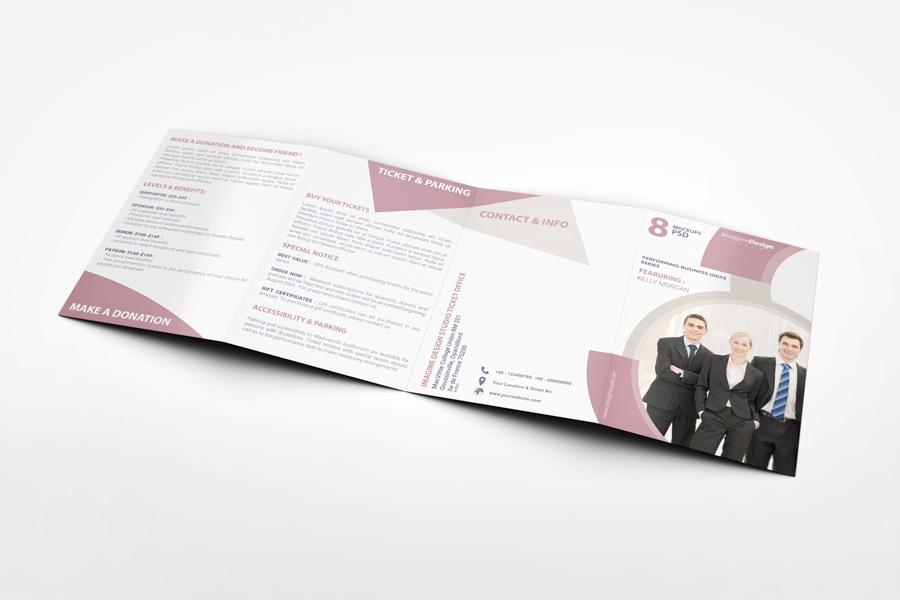 Roll Fold Brochure Mockup