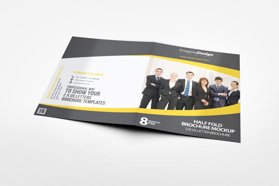 Half Fold Brochure Mockup  WwwIdesignstudioNet