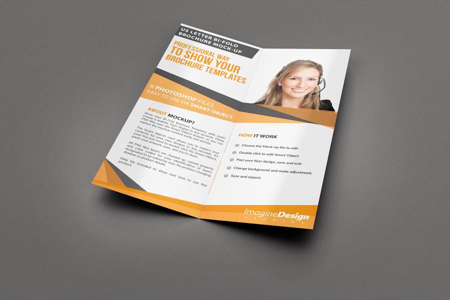 US Letter Half-Fold Brochure Mockup