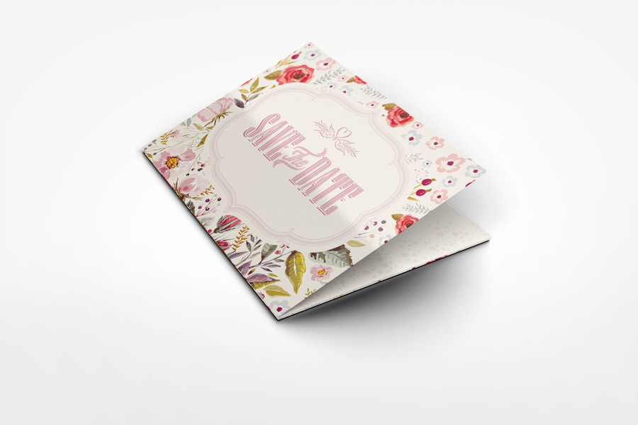 Accordion Wedding Invitation Mockup